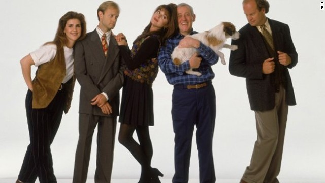 """""""Cheers'"""" spinoff """"Frasier"""" was like catnip to Emmy voters. As Frasier Crane, Kelsey Grammer, right, played off against a number of wacky characters, especially David Hyde Pierce, second from left, as brother Niles."""