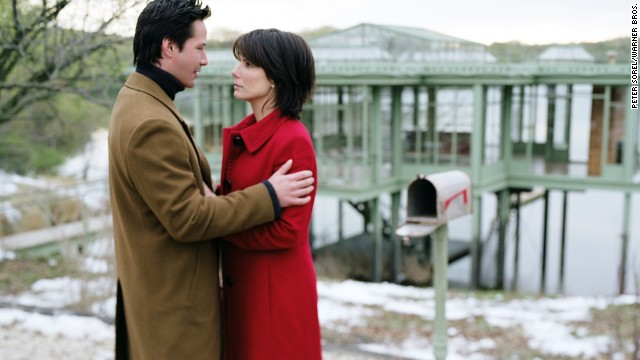 "Former ""Speed"" co-stars Keanu Reeves and Bullock reunite in 2006 for the romantic drama ""The Lake House."""