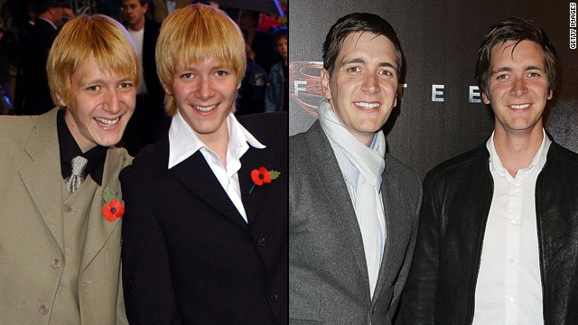 "The brothers who played the elder Weasleys -- George and Fred -- <a href='http://www.dailymail.co.uk/tvshowbiz/article-2169421/Harry-Potter-stars-James-Oliver-Phelps-ditch-ginger-hair-dye-head-Hollywood.html' target='_blank'>don't have the trademark ginger hair anymore</a>, but they're still recognizable as the prankster pair. James (left) and Oliver Phelps are still happy to talk all things ""Potter,"" even as they move on to other endeavors. James has been recently active on stage, and Oliver has been traveling in support of his website, <a href='http://www.jopworld.com/category/blog/' target='_blank'>JopWorld.com.</a>"