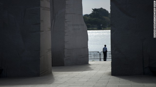 A U.S. Park Service military officer stands at the sealed Martin Luther King Jr. Memorial on the National Mall in Washington on Oct 1.