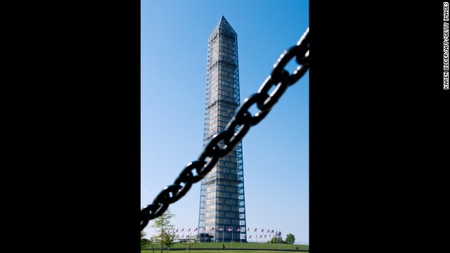 The Washington Monument is seen behind a sequence blockade in Washington, on Oct 1.
