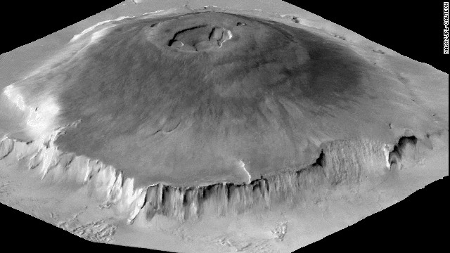 Olympus Mons is a shield volcano on Mars about the size of the state of Arizona, and the largest volcano in the solar system. At its summit is a caldera 50 miles wide. Its volume is about 100 times larger than Hawaii's Mauna Loa. Although Eden Patera and other ancient supervolcanoes on Mars were smaller, they produced much bigger explosions, according to scientists.