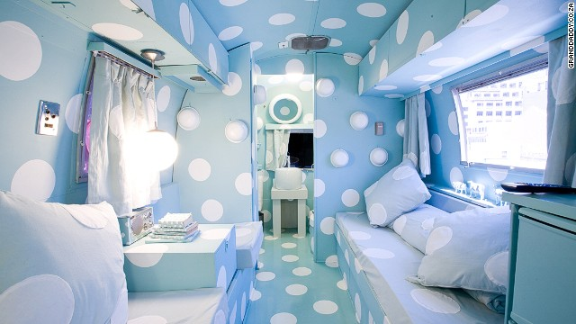 The roof of this Cape Town hotel is home to seven Airstream Trailers. The trailers are all themed and have flourishes such as vintage mailboxes. The Dorothy trailer is covered floor-to-ceiling in polka dots -- some open to reveal tiny storage spaces.