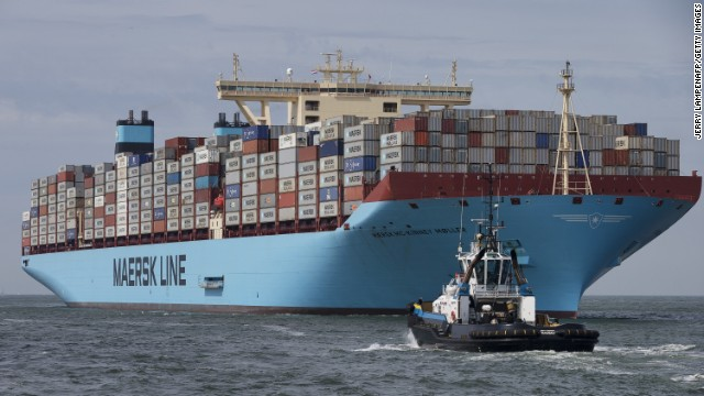 A Maersk Triple E vessel, the world's largest container ship, sails into Rotterdam, the Netherlands. The London Gateway will be one of the few ports in the world to have the facilities to cope with Triple E.