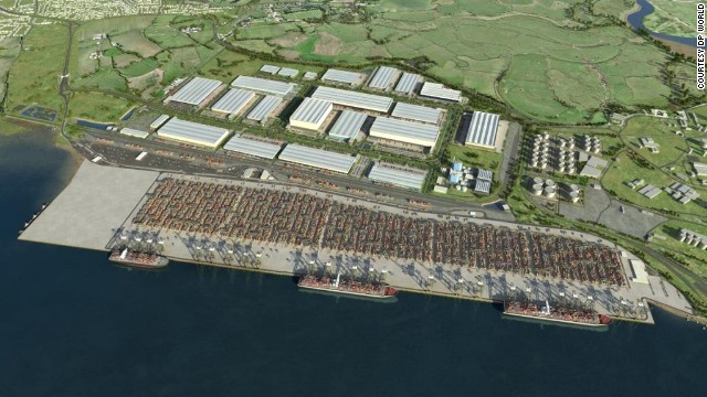 A CGI image of the London Gateway container port as it will look once finished. The port is scheduled to welcome its first vessel in December.