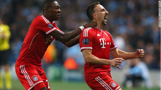 Franck Ribery opened the scoring for Bayern Munich in its victory at Manchester City.