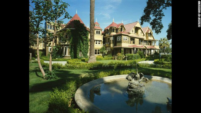 Winchester House: Built beginning in 1884 in San Jose, California, this Queen Anne Victorian with trap doors and stairs that lead nowhere is said to <a href='http://www.winchestermysteryhouse.com/allegedhauntings.cfm ' target='_blank'>keep restless spirits occupied</a>.