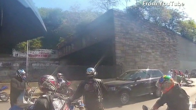 Footage of the September incident, recorded from another biker's helmet camera, went viral after it was posted online.