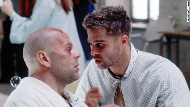 "<strong>""Twelve Monkeys""</strong> (1995), with Bruce Willis, left, and Brad Pitt, is a tale of twisted time based on the French short ""La Jetee."" Willis, who has traveled back in time to stop a world-destroying virus, has dreams of a death in an airport. He finally realizes it's no dream -- he was a child at the scene and saw his own death. The film was directed by Terry Gilliam."