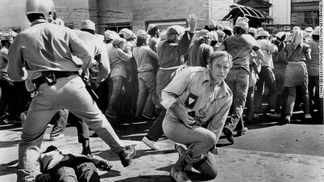 """What is Soylent Green, the popular foodstuff in an overcrowded future? Detective Robert Thorn (Charlton Heston) finds out in 1973's <strong>""""Soylent Green,</strong>"""" and he yells it to a partner: """"Soylent Green is people!"""""""