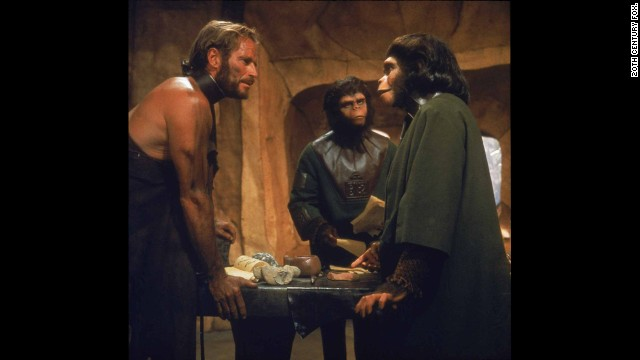"Five years earlier, Heston revealed another of the movies' great twists at the end of <strong>""Planet of the Apes""</strong> (1968). Believing he's traveled to an alien world populated by talking apes, it's only as the movie concludes -- with the Statue of Liberty emerging from a beach -- that he realizes he's on a future Earth. ""You maniacs!"" he screams. ""You blew it up!"" Rod Serling, of ""Twilight Zone"" fame, wrote the screenplay."