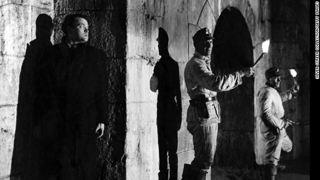 """In one of the great reveals in movie history, black market profiteer Harry Lime (Orson Welles) emerges from the shadows in <strong>""""The Third Man"""" </strong>(1949). For much of the movie, Holly Martins (Joseph Cotten) and the audience believe Lime is dead."""