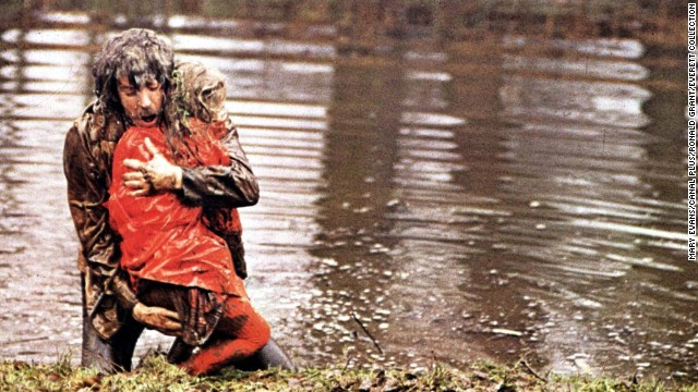 "In 1973's<strong> ""Don't Look Now,</strong>"" a troubled couple (Donald Sutherland and Julie Christie) travel to Venice to escape the grief caused by the death of their daughter. Sutherland's character has visions of seeing his child in a red coat, but it's actually a serial killer -- and Sutherland's visions are actually about himself. The haunting film was directed by Nicolas Roeg."