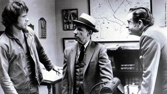 "<strong>""The Parallax View""</strong> (1974) neatly captured the paranoia of Watergate-era America. In the film, a reporter (Warren Beatty, left, with Hume Cronyn, center) turns up an assassination conspiracy, but instead of revealing it to the world, he ends up the target."