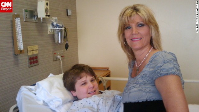 iReporter Leslie Martella and her son Garrett Buckelew, then 12, before his first trigeminal neuralgia surgery.