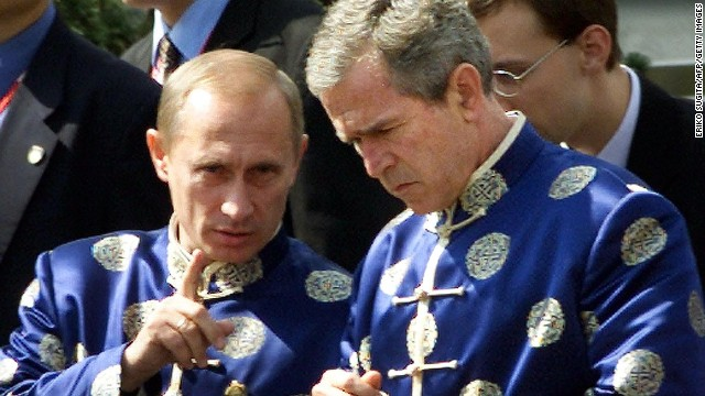 Russian president Vladimir Putin effortlessly pulled off this updated version of the Chinese silk embroidered jacket worn by APEC attendees in Shanghai. George W. Bush seemed a little flummoxed by it all. (He would later gain sartorial revenge -- click on.)