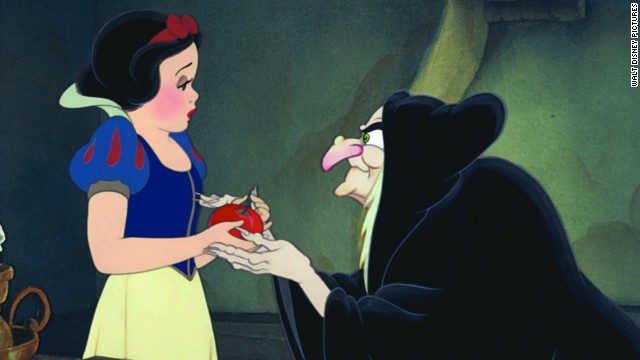 "<a href='http://www.youtube.com/watch?v=ATFx3aismgU' target='_blank'>The Evil Queen in ""Snow White</a>"" is the original animated Disney villain, appearing in Walt Disney's first animated film, 1937's ""Snow White and the Seven Dwarfs."" Trying to claim the title of ""fairest of them all,"" the queen had to use dark magic to turn herself into a witch so she could trick the (let's face it, pretty gullible) princess."