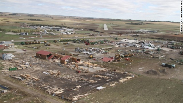 Tornado damage is seen in Wayne, Nebraska, in this image released by the Nebraska State Patrol.