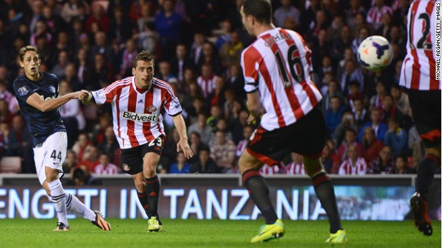 Adnan Januzaj volleys Manchester United's winner against Sunderland in the 18-year-old's first Premier League start.
