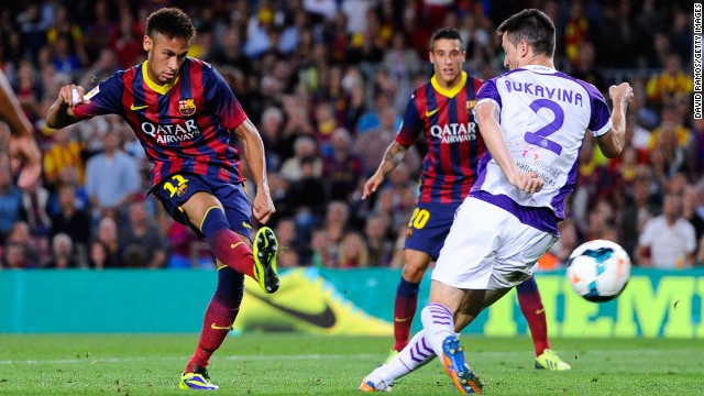 Neymar scores Barcelona's final goal in Saturday's 4-0 victory against Real Valladolid at Camp Nou.