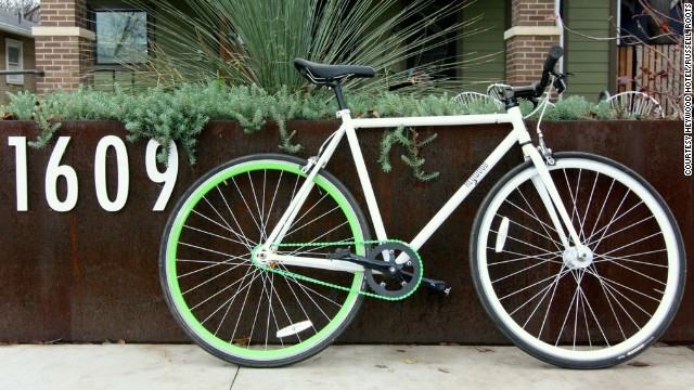 Austin's Heywood Hotel offers guests complimentary access to sweet rides such as this Republic bicycle.