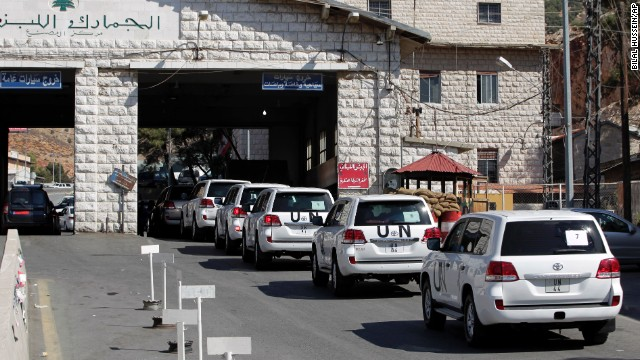A convoy of inspectors from the <a href='http://www.opcw.org/' target='_blank'>Organisation for the Prohibition of Chemical Weapons</a> prepares to cross into Syria at the Lebanese border crossing point of Masnaa on Tuesday, October 1. Inspectors from the Netherlands-based watchdog arrived in Syria to begin their complex mission of finding, dismantling and ultimately destroying Syria's chemical weapons arsenal.