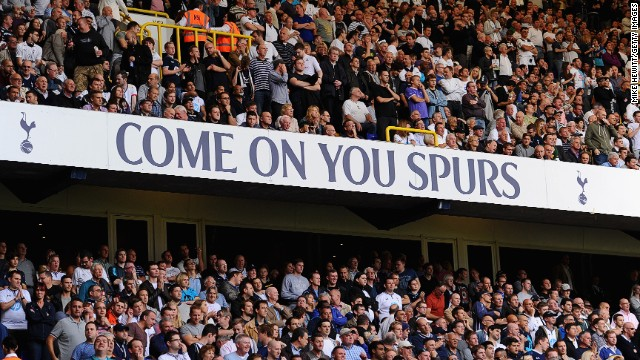 Spectators at the English Premier League match between Tottenham and West Ham at White Hart Lane on October 6.
