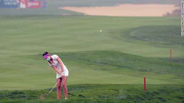 Germany's Sandra Gal was just one of the golfers spotted wearing masks to guard against air pollution at the Reignwood LPGA Classic in Beijing Sunday.
