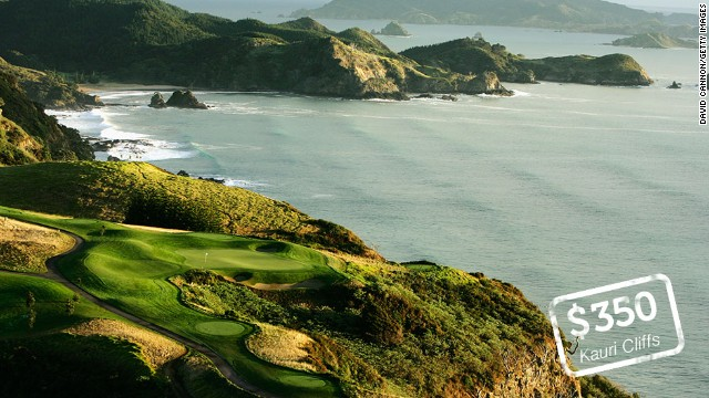 "Kauri Cliffs, Matauri Bay, New Zealand: Perched on the cliffs above the crystal clear waters of Matauri Bay, Kauri Cliffs is one of the most picturesque golf courses in the world. Six of the holes on the 7,119-yard, par 72 championship course run directly along the Pacific Ocean coast. The David Harman-designed links was ranked 19th in Golf Digest's ""100 best courses outside the U.S."" in 2012. Green fees for international visitors peak at $NZD 425 ($350)."