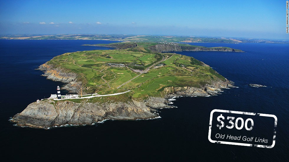 Pitch up with your credit card and your clubs if you want to walk the fairways at these golf courses. Places like <strong><a href='http://oldhead.com/rates-reservations/rates-reservations/' target='_blank'>Old Head Golf Links</a></strong> in County Cork, Ireland have some of the most expensive green fees on the planet. But given its <a href='http://here.com/51.6090794,-8.5295001,15,0,0,hybrid.day' target='_blank'>glorious setting</a>, it's no wonder some golfers will happily stump up the €220 ($300) required to play the course next summer.