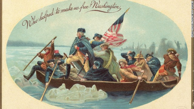 The iconic image of George Washington crossing the Delaware River in 1776, based on a painting by Emanuel Leutze.