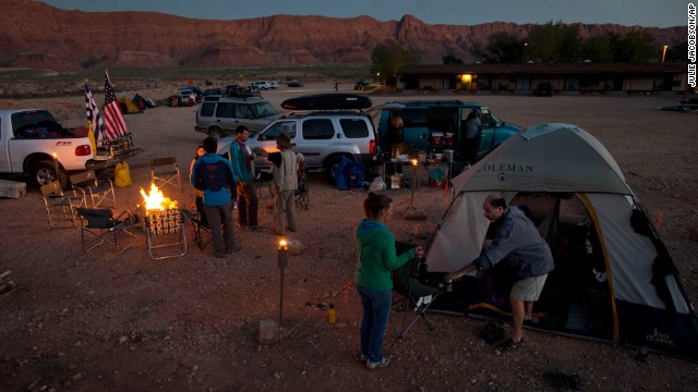 River runners make stay in a mud parking lot in Marble Canyon, Arizona, after being incompetent to opening the Colorado River at Lee's Ferry on Saturday, Oct 5.