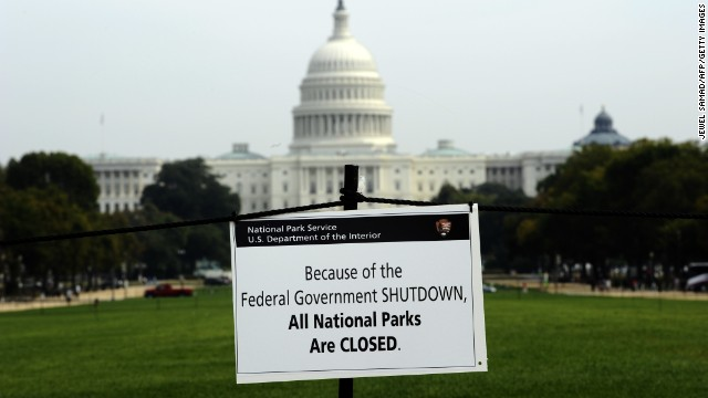 A closure pointer is posted on the National Mall in front of the U.S. Capitol in Washington on Thursday, Oct 3.
