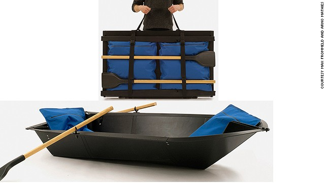 Love water travel but can't store a boat? Say hello to the flat-pack boat. Invented by lovers of London's canals, Arno Mathies and Max Frommeld, the boat is made from one sheet of plastic that folds up with its cushions and oars into a portable parcel you can throw in your trunk.