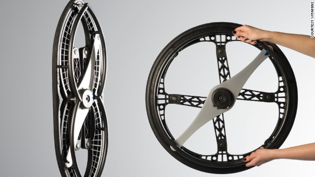 Winner of the Design Museum London's Design of the Year 2013 transport category, the folding wheel was developed by British construction collective Vitamins. The wheels, which are to be used predominantly for wheelchairs, fold in such a way that they can easily be stored in the overhead locker on an airplane or in the trunk of a small car.