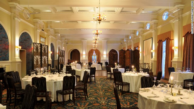 <strong>7.</strong> <a href='http://www.victoriafallshotel.co/Dining.html' target='_blank'>Livingstone Room at Victoria Falls Hotel </a>(Victoria Falls, Zimbabwe)