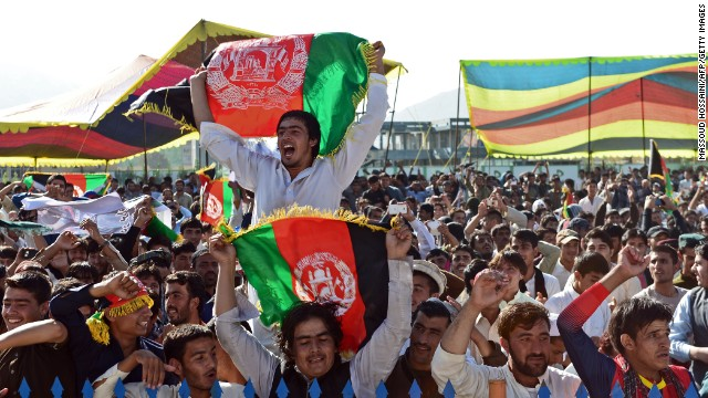 Afghan cricket fans packed into Kabul's International Cricket Stadium on October 4 to watch the win over Kenya on big screens.