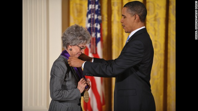 President Barack Obama presents the 2009 National Medal of Arts to Moreno during a ceremony in February 2010 at the White House.