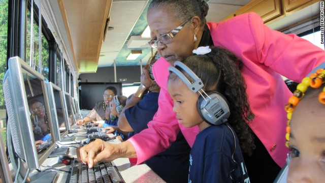 "Estella Pyfrom used her life savings to create ""Estella's Brilliant Bus,"" a mobile computer lab that provides tutoring for thousands of low-income students in Palm Beach County, Florida. ""It's not just a bus, it's a movement,"" Pyfrom said. ""And we're going to keep making a difference."""