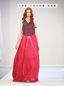 Hanbok influences are prevalent in Lee's haute couture line.