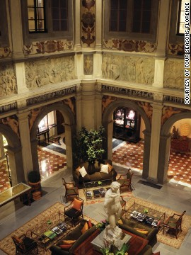 This hotel lobby features a series of fine bas-reliefs depicting mythological and classical scenes, created by Flemish artist Jan van der Straet beginning in 1555.
