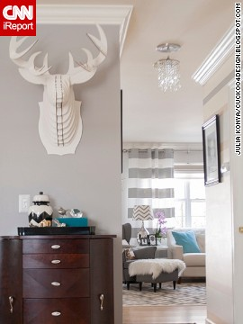 <a href='http://ireport.cnn.com/docs/DOC-1040934'>Julia Konya</a> displays a cardboard faux taxidermy stag head outside her living room.