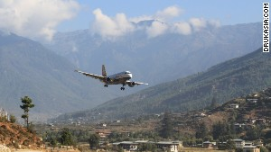 Bhutan\'s Paro Airport deserves an award for beautiful airport surroundings.