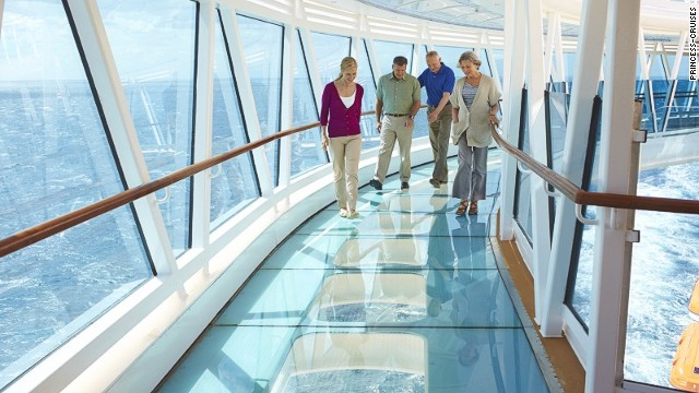"This walkway extends eight meters (28 feet) beyond the edge of Princess Cruises' Royal Princess ship and is the first of its kind to be found aboard a cruise ship. Those who choose to ""walk the plank"" have nothing to fear -- the glass is more than an inch thick."