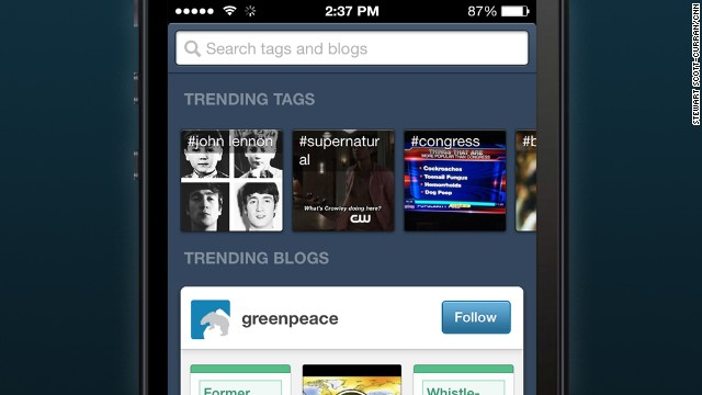 Tumblr: Users collect and share items of interest with fellow users -- from videos to images to blog posts.