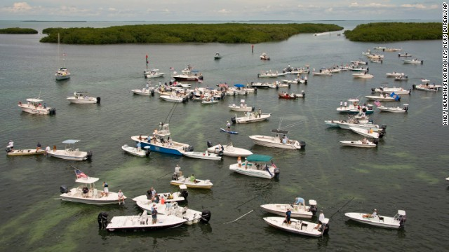 Boaters accumulate to criticism the closure of Everglades National Park waters on Oct 9 nearby Islamorada, Florida. About a third of the 2,380-square-mile park encompasses Florida Bay and has been sealed to Florida Keys guides and recreational fishermen since Oct 1.