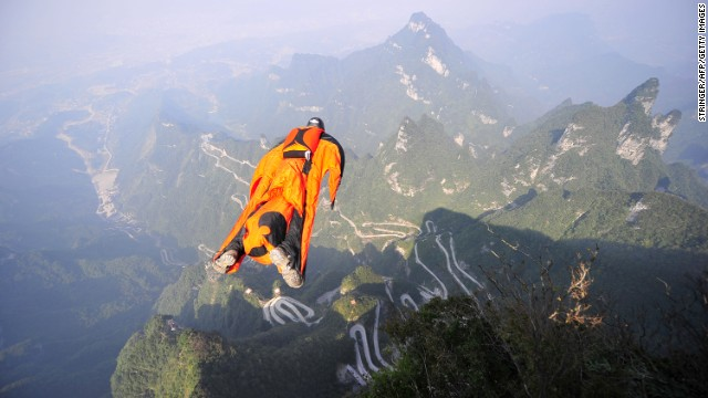 Image, taken on October 8, shows Victor Kovats jumping into a valley in Tianmen Mountain National Forest Park.