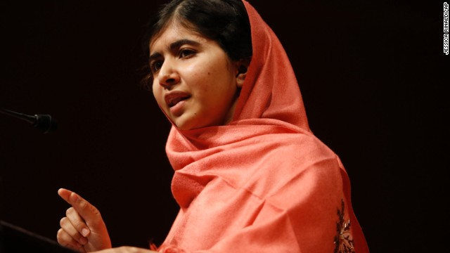 Malala addresses students and faculty of Harvard University in Cambridge, Massachusetts, after receiving the 2013 Peter J. Gomes Humanitarian Award on September 27.