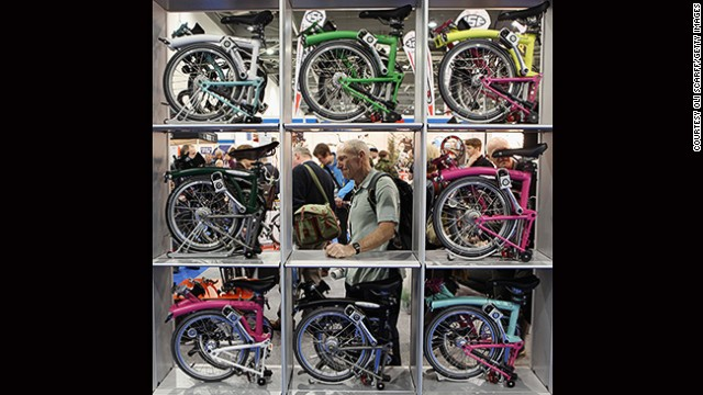 There are dozens of foldable bikes on the market these days, as more and more urbanites jump on the cycling bandwagon. Lugging your bike on trains and buses used to be a drag, but with foldable bikes like the Bromptons on display here, you have no excuse any more.