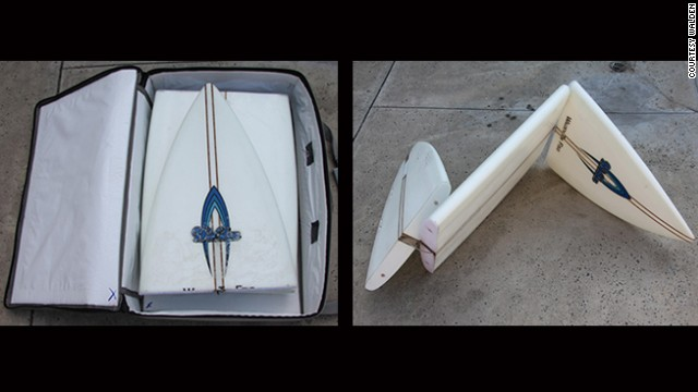 It's an age old problem for the roaming surfer -- the cost of transporting your beloved board. Well, Walden Surfboards may just have a solution: the Tri-fold can be folded up into a suitcase and checked in like a normal piece of luggage. Hallelujah!